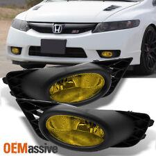 Fits 09-11 Civic 4Dr Sedan JDM Yellow Bumper Driving Fog Lights w/Bulbs + Switch