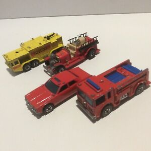 Four Hot Wheels Fire and Rescue vehicles vintages 1980s blackwalls to restore