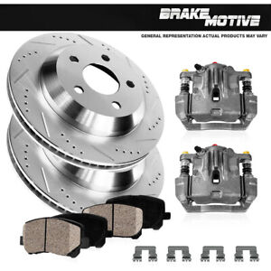 Rear OE Brake Calipers +D/S Rotors & Ceramic Pads For Buick Lucerne Cadillac DTS