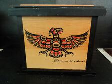 Native American Hopi Pueblo Carved Box w Phoenix Bird Gods Fish Fetishes Signed