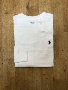 Ralph Lauren Men's Custom Fit Long Sleeve Crew Neck T-Shirt - White - Large