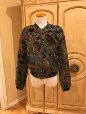 New KAS New York Womens  Ashlyn Velvet Teal Green Bomber Jacket $210 Size L
