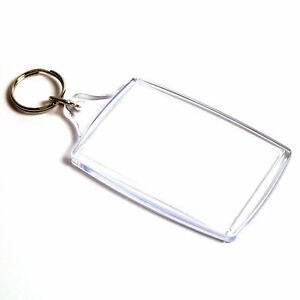Clear Acrylic Plastic BLANK KEY RINGS insert size 70 mm x 45 mm Insert-photo