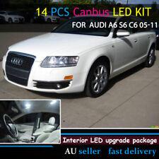 No Error Car White LED Interior Plate Light Upgrade Kit For Audi A6 S6 C6 05-11