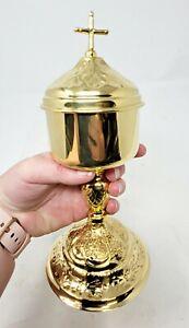 High Polished Brass Ciborium Cross Lid,10 Inch Church Altar Gift