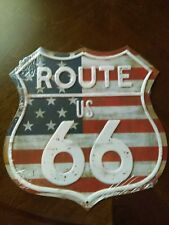 """Route Us 66 Stars & Stripes Embossed Metal Sign 10.25"""" X 10.50"""" Factory Sealed"""