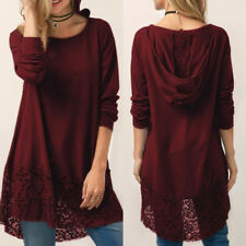 New Womens Casual Long Sleeve Solid Loose Tunic Top Shirt Blouse Dress Plus Size