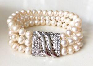 CGI CN Freshwater Egg Pearl Swarovski Crystal Multi Strand Bracelet HSN