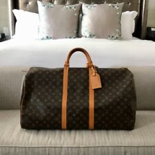 AUTHENTIC LOUIS VUITTON Monogram Leather Brown Keepall 60' Travel Bag EXCELLENT