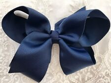 "Girls School Hair Bow Navy Blue 🌊HollyBow 6"" Boutique Hair Accessory Headband"