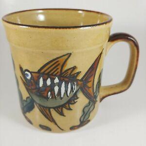 Retro HAND PAINTED 10oz Brown & Bronze Metallic Fish Ceramic Coffee Mug Cup