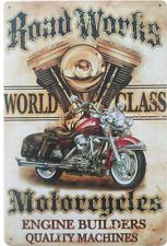 Motorcycle Works metal plaque - Retro motorbike tin sign for garage, man cave