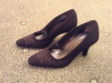 Ladies Black Embroided Stilletto Shoes Size 3 Excellent Condition