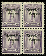 PERU 1927 AIRMAIL Ovpt. 50c violet Sc# C1a mint MLH BLK 4  showing OVPT. variety