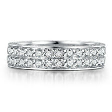 Solid 10K White Gold 2ct Moissanite Band Generous Ladys Wedding Anniversary Ring