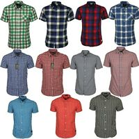 Mens Shirts Jack & Jones Checked Short Sleeve Collar Cotton Casual Work Shirt