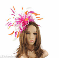 White Fuchsia Orange Fascinator Hat for weddings/ascot/proms