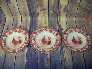Lot Of 3 William James Farm Yard Red And White 8 1/2 Inch Soup Bowls
