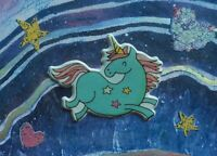 ACEO Unicorn Puffy Sticker Collage Abstract Folk Outsider Autism Pop Art