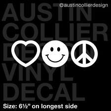 "6.5"" LOVE SMILE PEACE vinyl decal car window laptop sticker - happy smiley face"