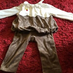 Mamas And Papas Christmas Pudding Velour Velvet Outfit 18-23 Months New