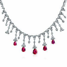 Bridal Red CZ Tear Dangle Simulated Ruby Statement Necklace Silver Plated Brass