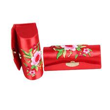 Flower Design Retro Lipstick Case Brocade Embroidered Holder Box with Mirror Xb