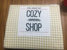 Cozy Shop Full Sheet Set Gold Gingham Plaid 100% Cotton 300 Thread Count New