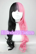 Womens girl Long Pink black Mix Hair Curly Wavy Wigs Cosplay Party Costume Wig