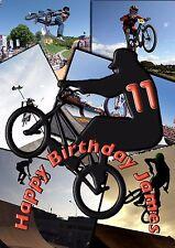 bmx bike stunts personalised A5 birthday card son grandson nephew brother name