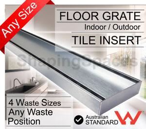 300mm - 5.6m LAUXES Tile Insert Strip Shower Grate waste Drain Linear Bathroom