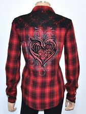 NEW HARLEY DAVIDSON Red Black Plaid Lace Graphic Heart Snap Front Blouse - SMALL