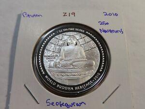 Z19 Bhutan 2010 Silver 1 Oz. 250 Ngultrums Seokguram Grotto Enameled Proof
