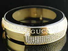 Mens Gucci Gold Steel Diamond Case for I Gucci Digital Watch 4.0 Ct YA114 Models