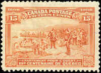 1908 Mint Canada F+ Scott #102 15c Quebec Tercentenary Issue Stamp Hinged