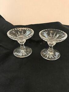 """Pair of Glass Candle Holders for Taper Candles 3.25"""" Tall x 4"""" Wide"""