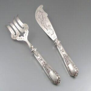 Antique French Sterling Silver Clad fish Serving Set Fork & Knife, Henri Lapeyre