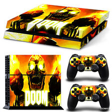 PS4 Playstation 4 Console Skin Decal Sticker Doom Zombie + 2 Controller Skins