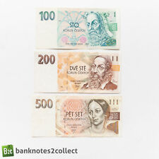 Czech Republic: Set of 3 Czech Koruna Banknotes.