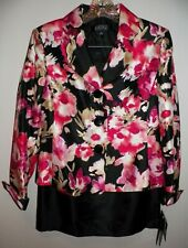 NWT's Women's 6 Kasper Skirt Suit Pink Floral Black Jacket Skirt Suit
