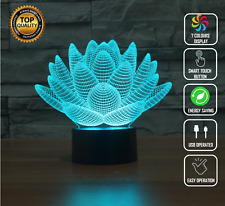 LOTUS FLOWER BUDDHA 3D Acrylic LED 7 Colour Night Light Touch Table Lamp Gift