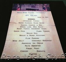 Titanic Second Class Dinner Menu 14th April 1912 White Star Line Menu Rare Print