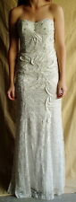 White Silver Lace Beaded Dress Sequin Prom Wedding Evening Gown Carraz SMALL NWT