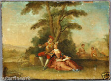 Unsigned French Oil Painting depicting Courting Scene of Man Serenading Woman