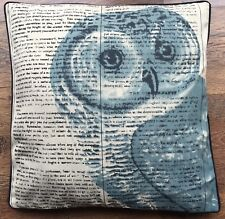 1 Cream polyester/linen Blend 45cm owl Image, CUSHION COVER with piping
