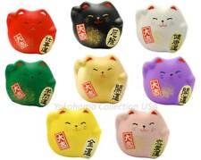 Set of 8 PCS. Japanese Maneki Neko Lucky Fortune Rich Cat Figurine Made in Japan