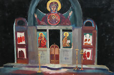 Vintage Gouache Painting Orthodox Church Interior