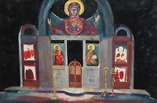 Vintage Gouache Painting Orthodox Church Interior