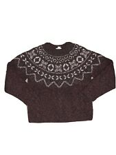 Vintage VTG LL Bean Wool Blend Knit Sweater Brown Snowflake Mens Size Small
