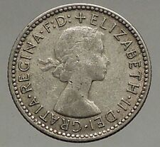 1956 AUSTRALIA - Silver Sixpence Coin - Queen ELIZABETH II - Coat-of-Arms i56884